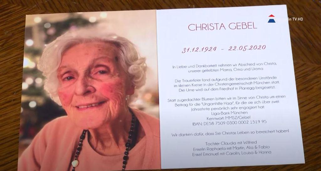 Elhunyt Sátoraljaújhely díszpolgára – Christa Gebel